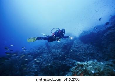 SPAIN, Mediterranean Sea, Ibiza Island, U.W. photo; 13 June 2006, scuba diver (FILM SCAN) - EDITORIAL