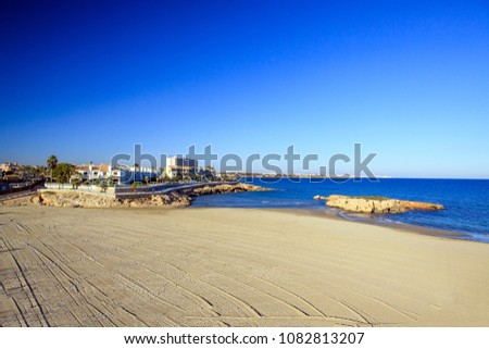 Spain, Mediterranean sea, large sandy beach island in the sea