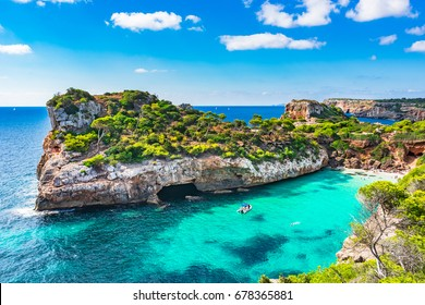 Spain Mediterranean Sea, Majorca beach of Cala Moro beautiful seaside bay, Balearic Islands.
