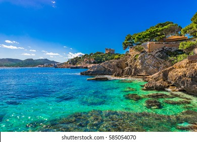 Spain Mediterranean Sea, Majorca island scenery, seascape of the idyllic coastline at Cala Ratjada.