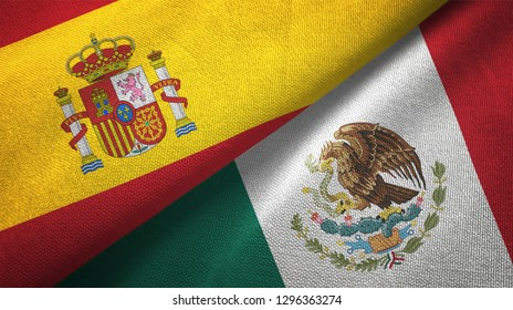 Spain and Mexico two flags textile cloth, fabric texture