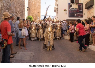 Spain Mojacar 10 June 2018. The reproduction of historical events for the feast of Christians and Moors, the landing of the Moors on the beach in the city of Mojacar