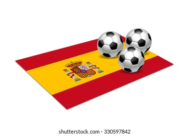Spain national flag with soccer balls