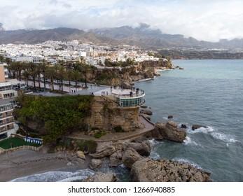 Spain, Nerja town on Costa del Sol, Aerial view of Balcon de Europa, Mediterranean Sea coast, Andalusia region. March, 2018