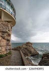 Spain, Nerja town on Costa del Sol, view of Balcon de Europa, Mediterranean Sea coast, Andalusia region. March, 2018