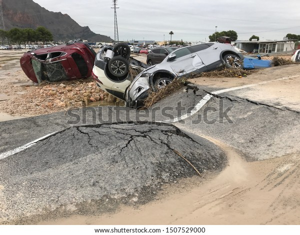 Spain, Orihuela, Alicante. September 14, 2019. Thousands of cars damaged by strong rains..