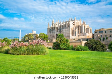 Spain, Palma de Majorca, view of the Cathedral with a garden in the foreground