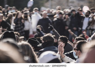 spain, palma de mallorca - january 12, 2021: people are in the street demonstrating against the new restrictions applied by president armengol