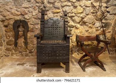 Spain Palma de Mallorca June 23, 2016: An old room and a tool for torture in the estate of the Camino de Caledor. San Juan, Mallorca, Spain's largest island