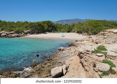 Spain peaceful small beach on the Costa Dorada, Cala lo Ribellet, Calafat, Mediterranean sea, Catalonia, L'Ametlla de Mar, Tarragona