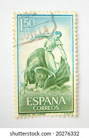Spain postage stamp with bullfighting on white background