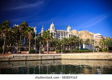 Spain, a resort on the Mediterranean sea, the promenade and sea port