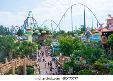 Spain. Salou. Amusement Park Port Aventura. June 23, 2017. Rides on sesame street.