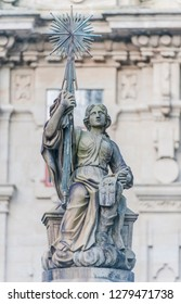 Spain, Santiago de Compostela, Statue at Praza das Praterias