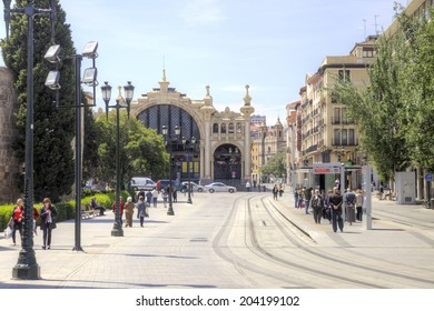 SPAIN, SARAGOSSA - May 4.2014: Street in the historical center of city with tram-car ways