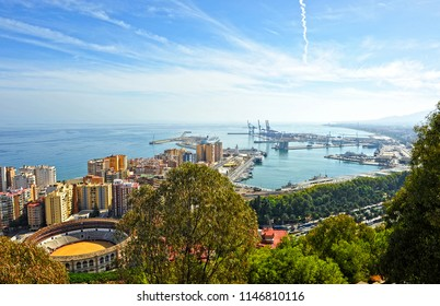 "Málaga, Spain - Sep 22, 20910: Panoramic view of the port of Malaga and the famous bullring ""La Malagueta"". Capital of the Coast of the Sun (Costa del Sol), Andalusia, Spain"