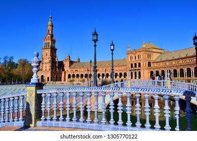 Spain, Seville, December 2018 architectural details in the Plaza de Espana in Seville, one of the most spectacular architectural spaces of the Spanish city and neo-Moorish architecture