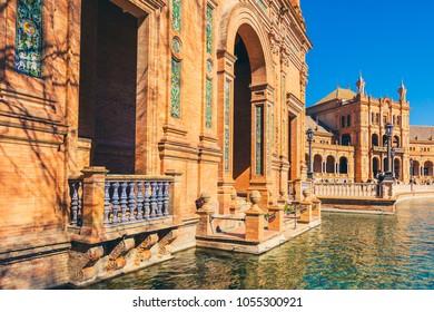 SPAIN, SEVILLE - FEBRUARY 09: View of Beautiful Plaza de Espana, Seville, Spain on February 09, 2013