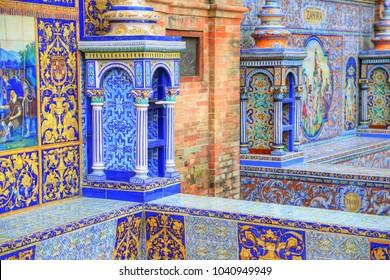 SPAIN, SEVILLE-20 October, 2017Plaza de Espana, Seville, Architectural details and ornaments