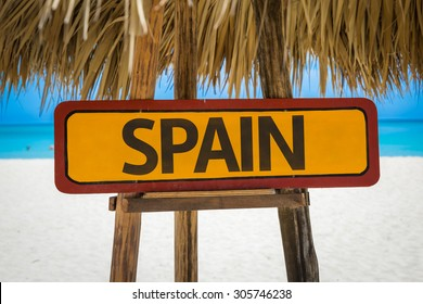 Spain sign with beach background
