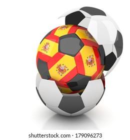 Spain soccer ball isolated white background