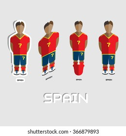 Spain Soccer Team Sportswear Template. Front View of Outdoor Activity Sportswear for Men and Boys. Digital background raster illustration. Stylish design for t-shirts, shorts and boots.