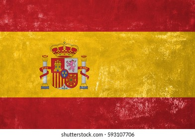 Spain - Spanish Flag on Old Grunge Texture Background