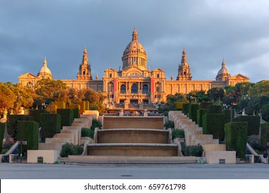Spain square or Placa De Espanya in the golden hour at sunset, with the National Museum, in Barcelona, Spain