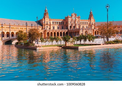 Spain Square or Plaza de Espana in Seville in the sunny summer day, Andalusia, Spain