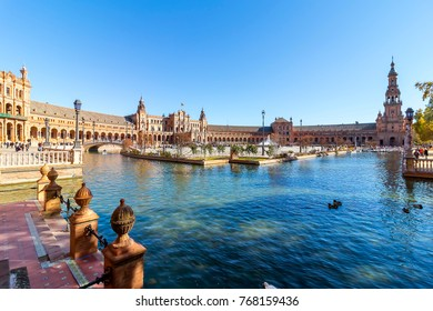 Spain Square (Plaza de Espana), Seville, Spain, built on 1928, it is one example of the Regionalism Architecture mixing Renaissance and Moorish styles