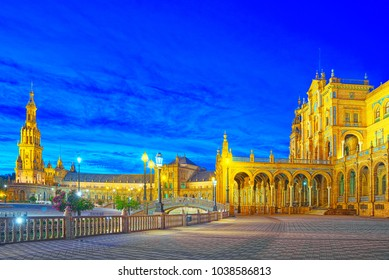 Spain Square (Plaza de Espana)is a square in the Maria Luisa Park, in Seville, Spain, built in 1928 for the Ibero-American Exposition of 1929. Nighttime.