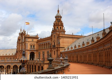 The Spain Square (Plaza de España) in Seville, Spain. It is a landmark example of the Regionalism Architecture, mixing elements of the Renaissance Revival and Moorish Revival styles.