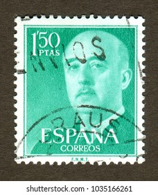 Spain stamp no circa date: A stamp printed in Spain shows a Portraits of Francisco Franco.