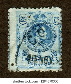Spain stamp no circa date: A stamp printed in Spain shows Portraits King Alfonso XIII of Spain.
