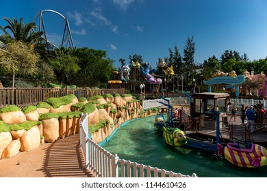 Spain, Tarragona - may 29, 2018: Port Aventura is an amusement park and a European resort in Spain. Located in the area of Tarragona, near Salou, about an hour south of Barcelona