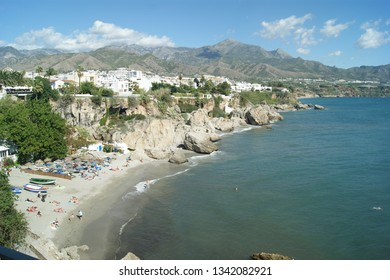 Spain, the town of Nerja.  A view from the Balcon de Europa of the local beaches.