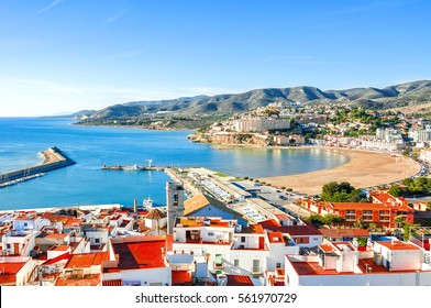 Spain. Valencia,  Peniscola. View of the sea from a height of Pope Luna's Castle.Beautiful view of the sea and the bay. Mediterranean Sea. Fishing harbor