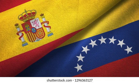 Spain and Venezuela two flags textile cloth, fabric texture