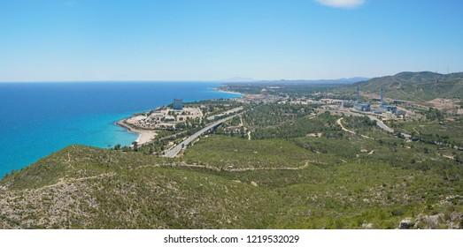 Spain viewpoint overlooking the Vandellos nuclear power plant on the coast near l'Hospitalet de l'Infant, Costa Dorada, Mediterranean sea, Tarragona, Catalonia