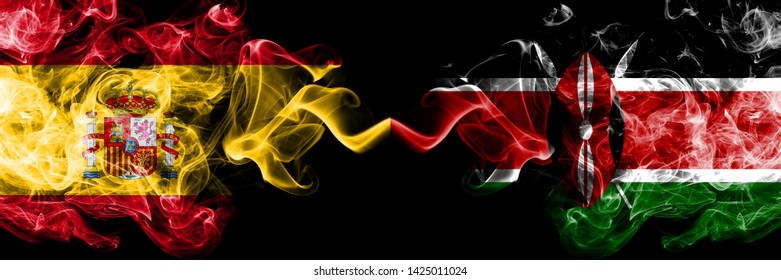 Spain vs Kenya, Kenyan smoky mystic flags placed side by side. Thick colored silky smokes flag of Spanish and Kenya, Kenyan