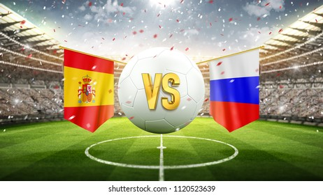 Spain vs Russia. Soccer concept. White soccer ball with the flag in the stadium, 2018. 3d render