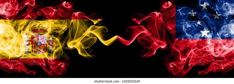 Spain vs Samoa, Samoan smoky mystic flags placed side by side. Thick colored silky smokes flag of Spanish and Samoa, Samoan