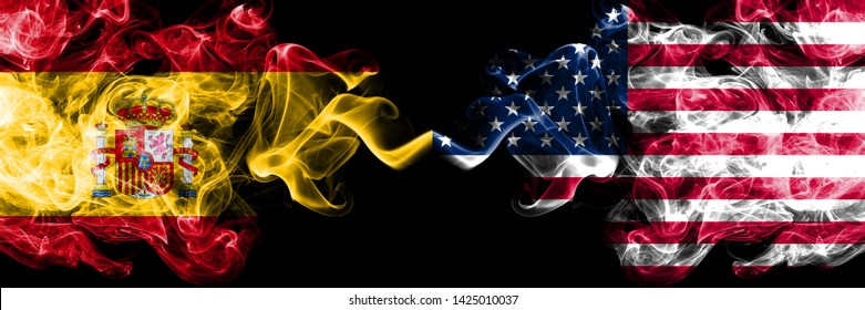 Spain vs United States of America, American smoky mystic flags placed side by side. Thick colored silky smokes flag of Spanish and United States of America, American