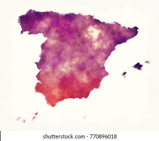 Spain watercolor map in front of a white background