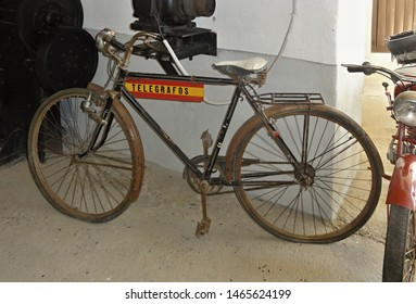 Spain,Badajoz,Don Benito 28.06.2019 Old bicycle of a telegram messenger of the Spanish post office