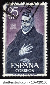 SPAIN-CIRCA 1980:A stamp printed in SPAIN shows image of the Saint John of Avila, Apostle of Andalusia  was a Spanish apostolic preacher, author, mystic and saint, canonized in 1970, circa 1980