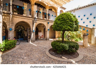 SPAIN-CORDOBA, 9 September 2013: Inside typical spanish andalusian courtyard (patio), Andalusia province.
