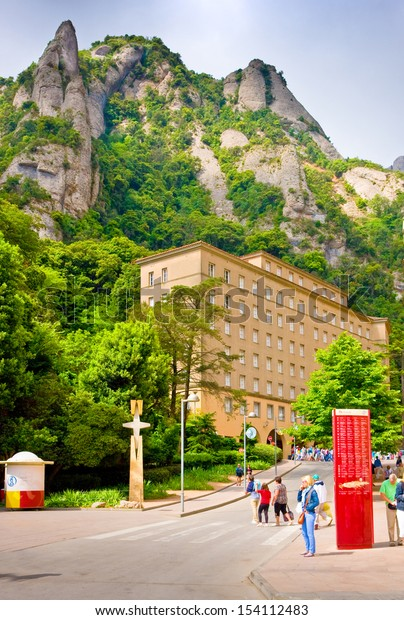 SPAIN-JUNE,29:Cross area (Placa de la Creu), Montserrat, Spain on June 29,2013. Area is at altitude of 706 m above sea level and is named in honor of cross,which was installed in 1962 on its left side