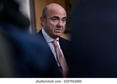 Spain's Economy Minister Luis de Guindos in Eurogroup finance ministers meeting at the European Council in Brussels, Belgium on Feb. 19, 2018
