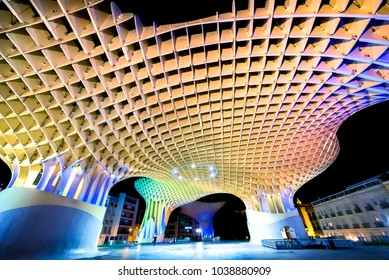 SPAIN-SEVILLA, FEBRUARY 21, 2018: Night view of Metropol Parasol in Plaza Encarnacion, Andalusia province.